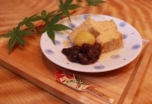わらび餅とあんこと栗の甘露煮